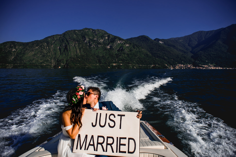 lake como boat ride lenno just married