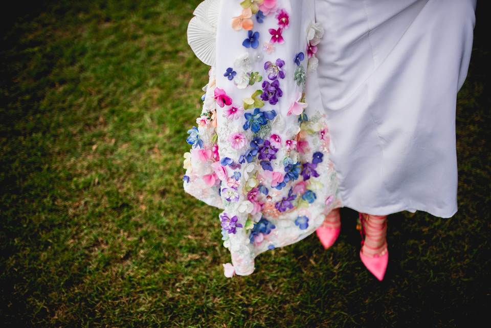 cool homemade DIY wedding dress flowers italy