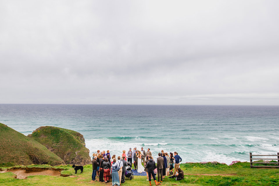 Wedding Ceremony cliff top cornwall watergate