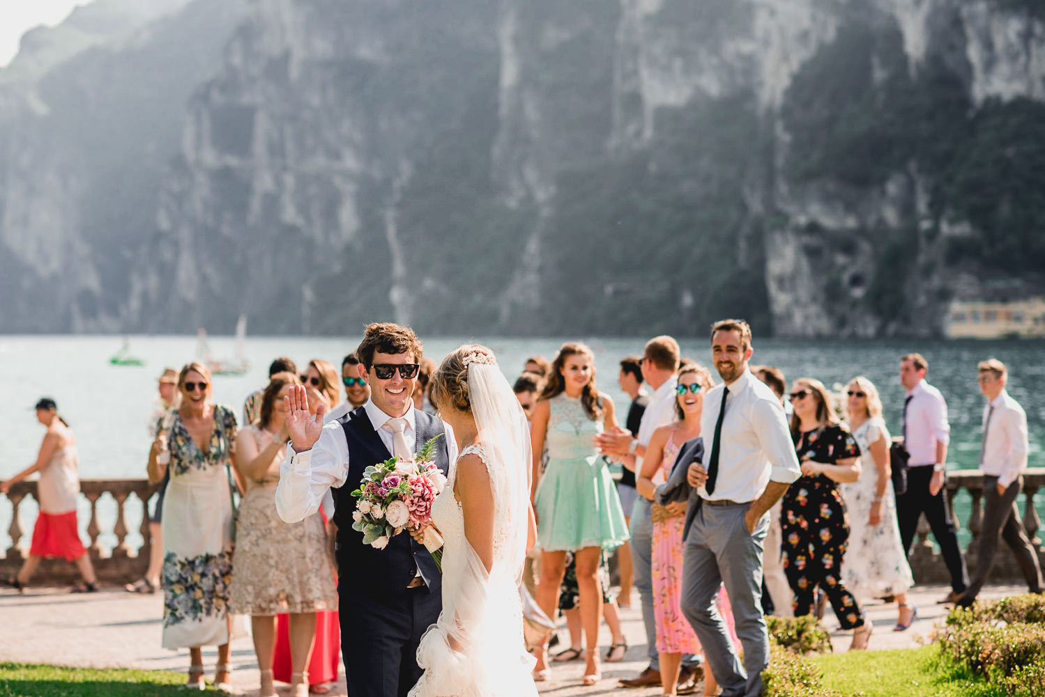 high fives rive del garda wedding