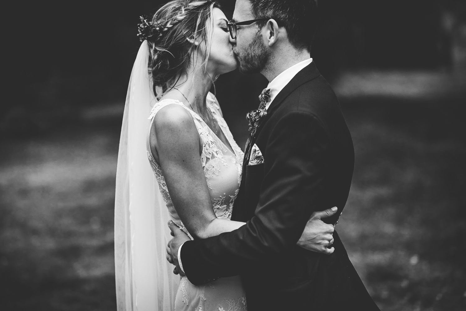 kissing on their wedding day
