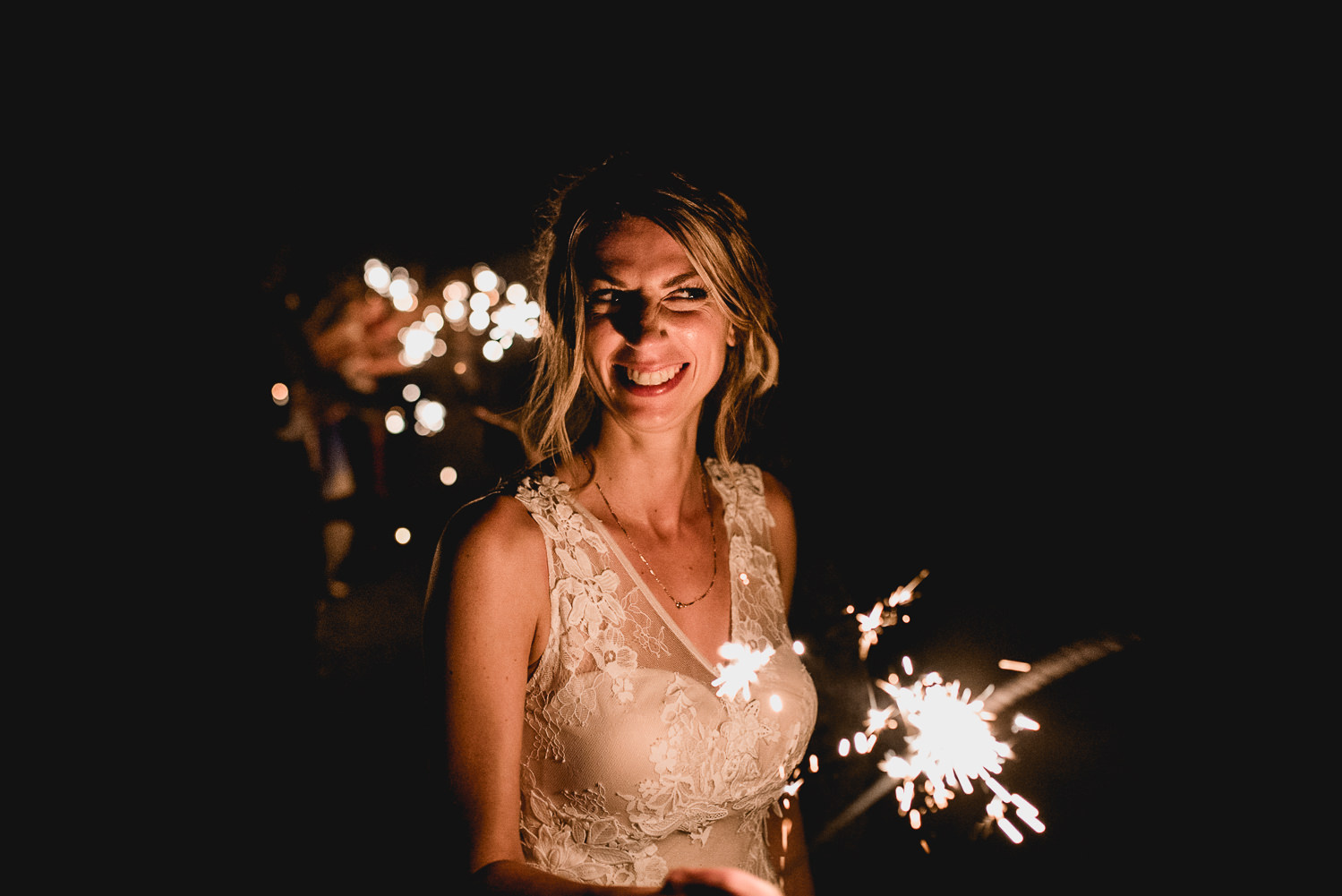 Wedding sparkler bride