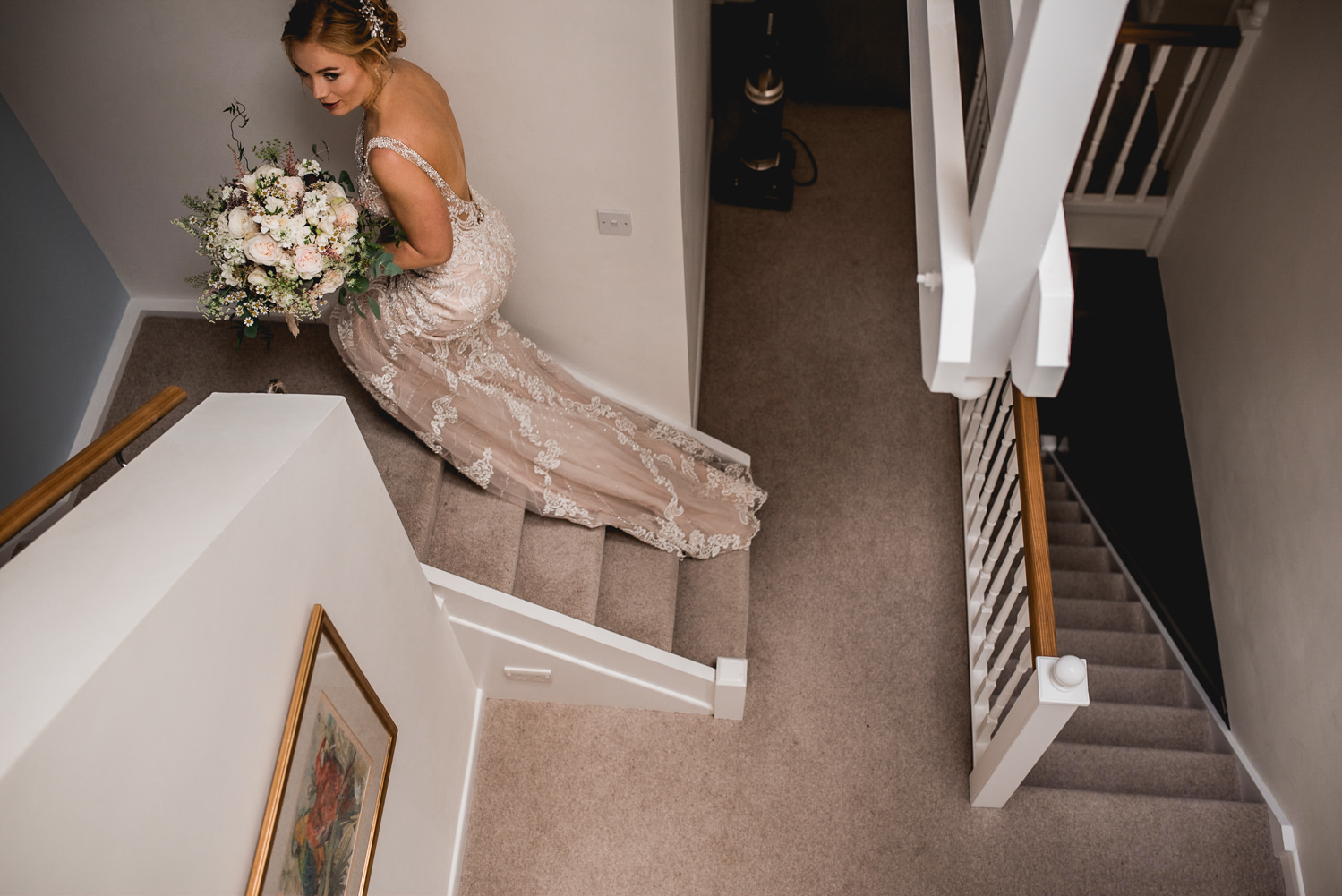 bride coming up the stairs
