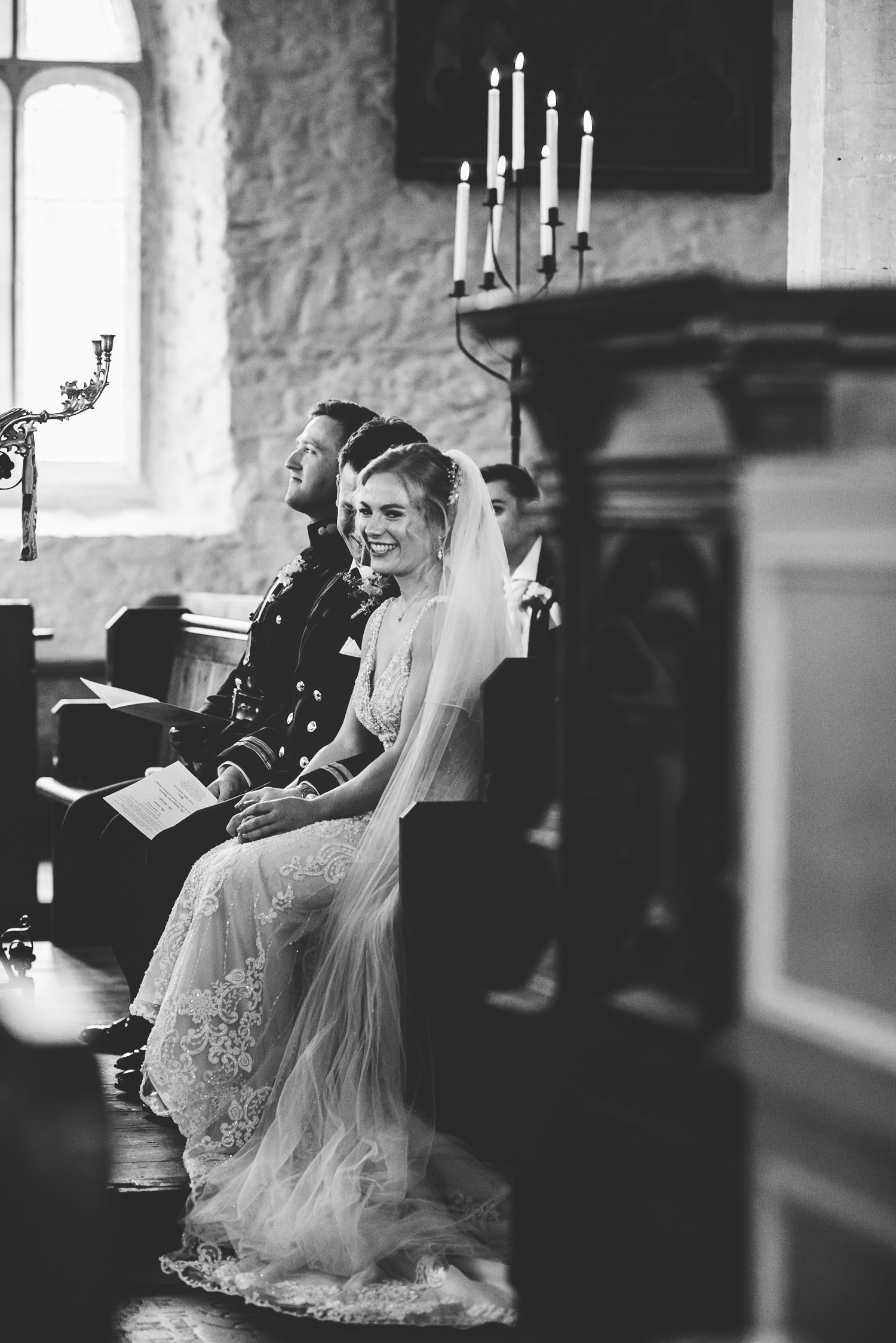bride and groom smiles