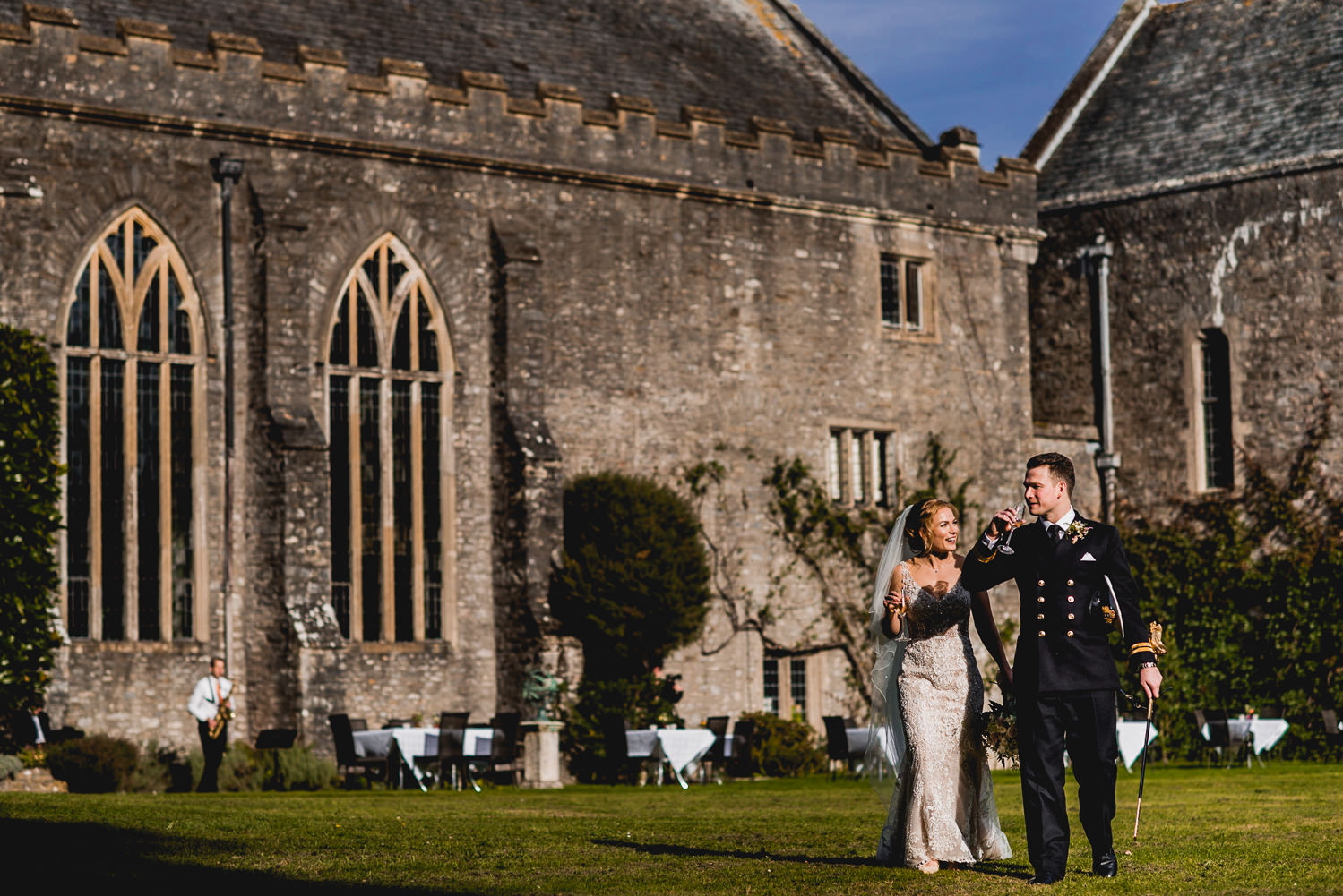 Dartington Hall sunshine wedding