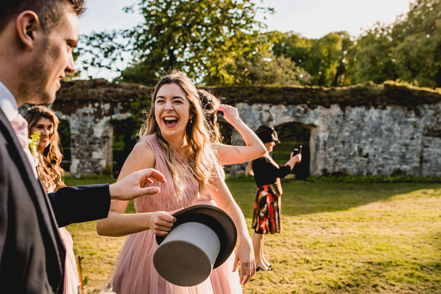 Dartington Hall Wedding Photographer laughs