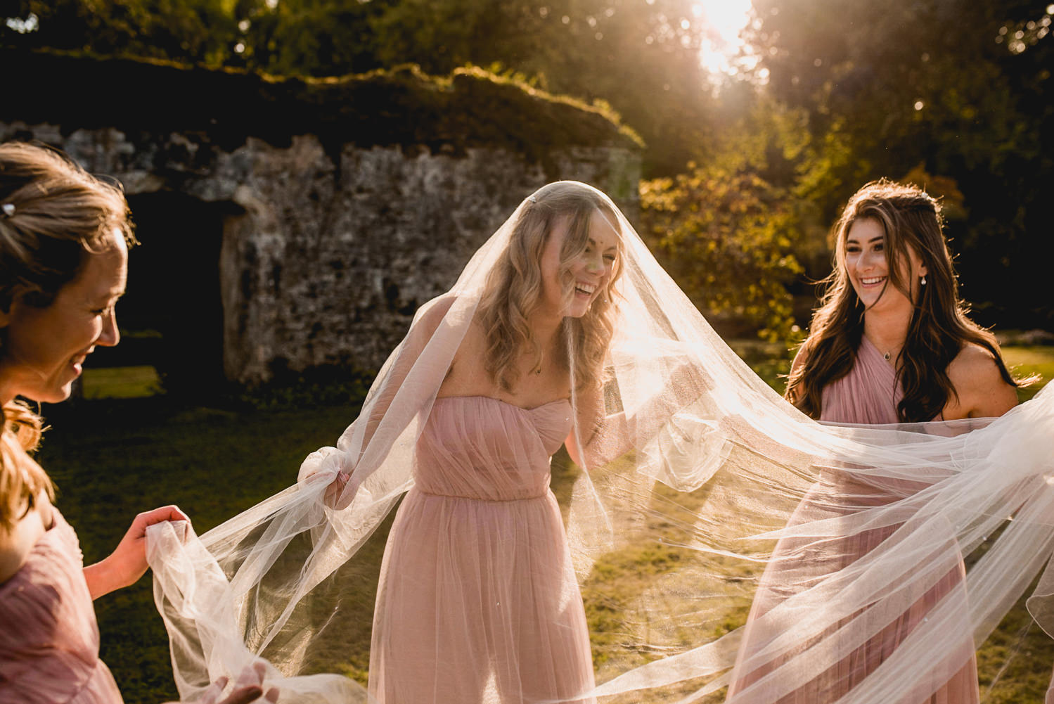 bridesmaids fun at Dartington Hall