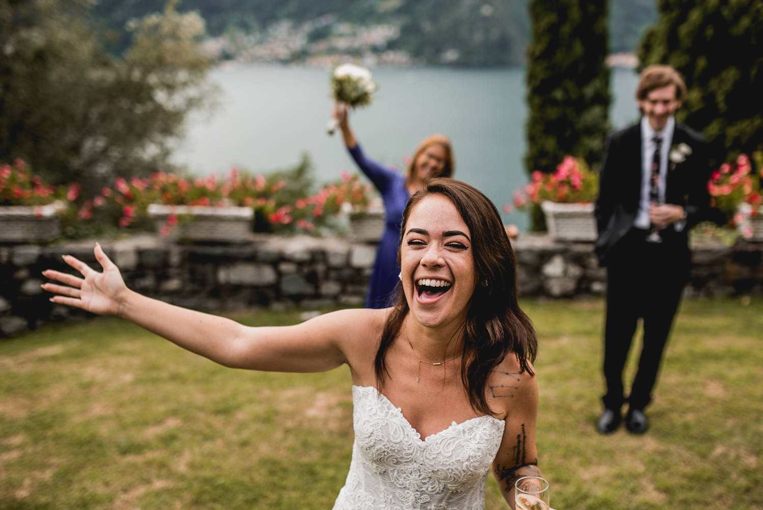laughing in lake como