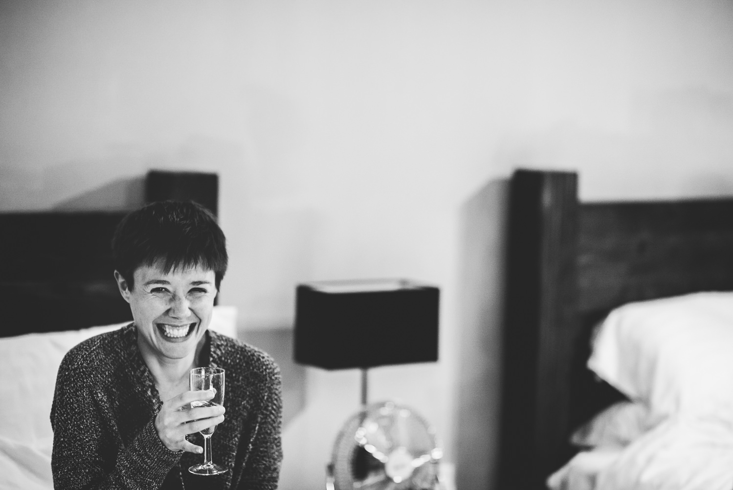 bride laughing trevenna