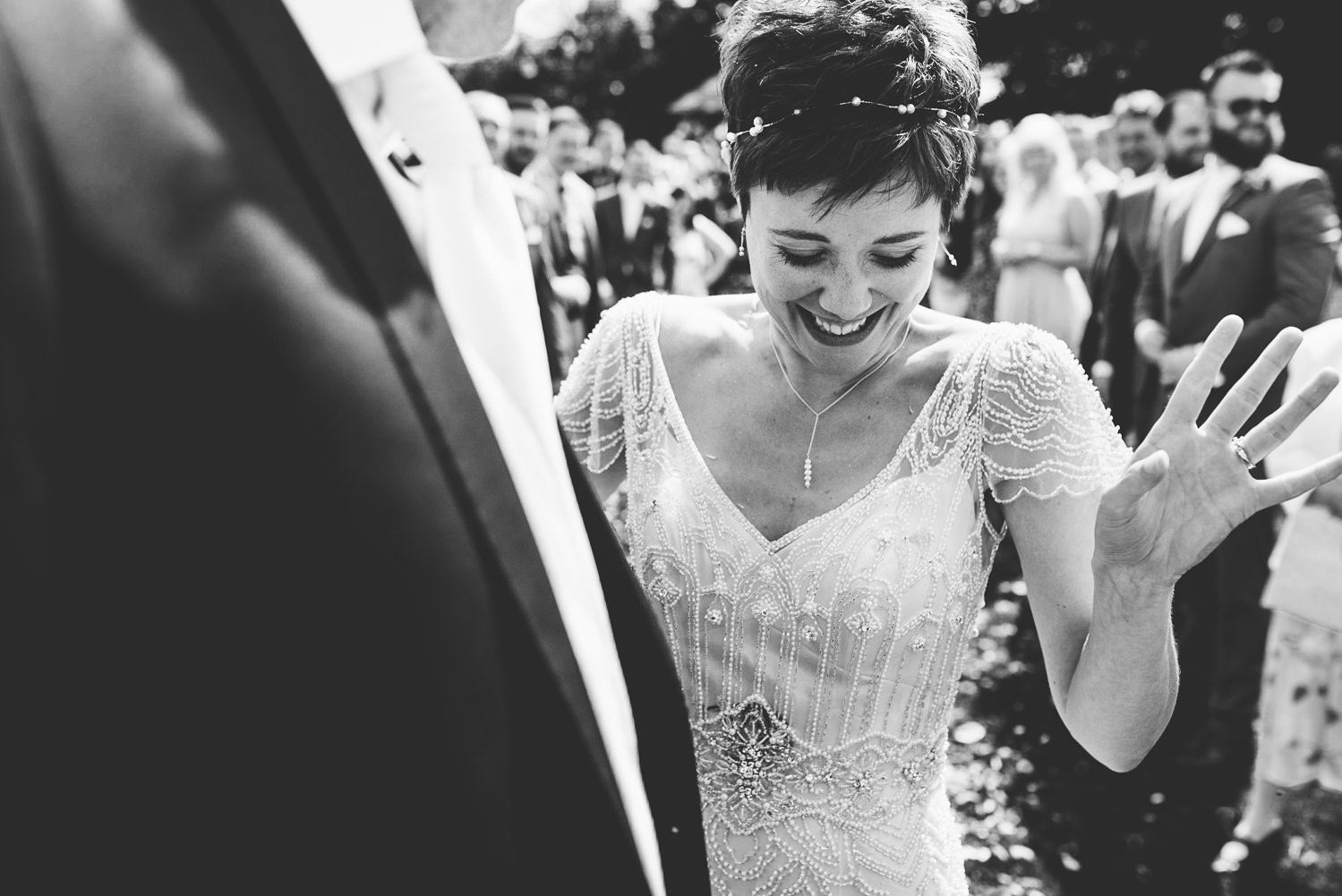 bride with confetti cornwall