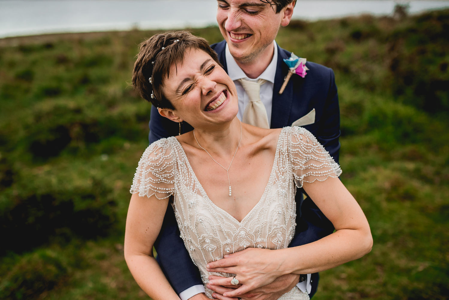happy bride and groom cornwall lake