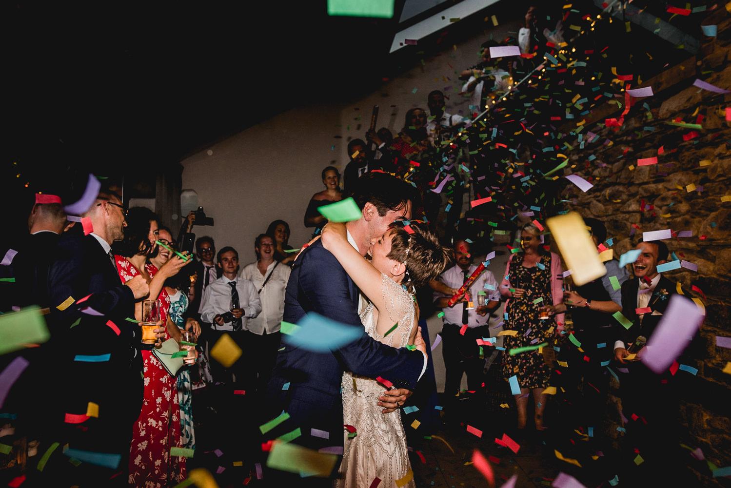 wedding first dance confetti cornwall