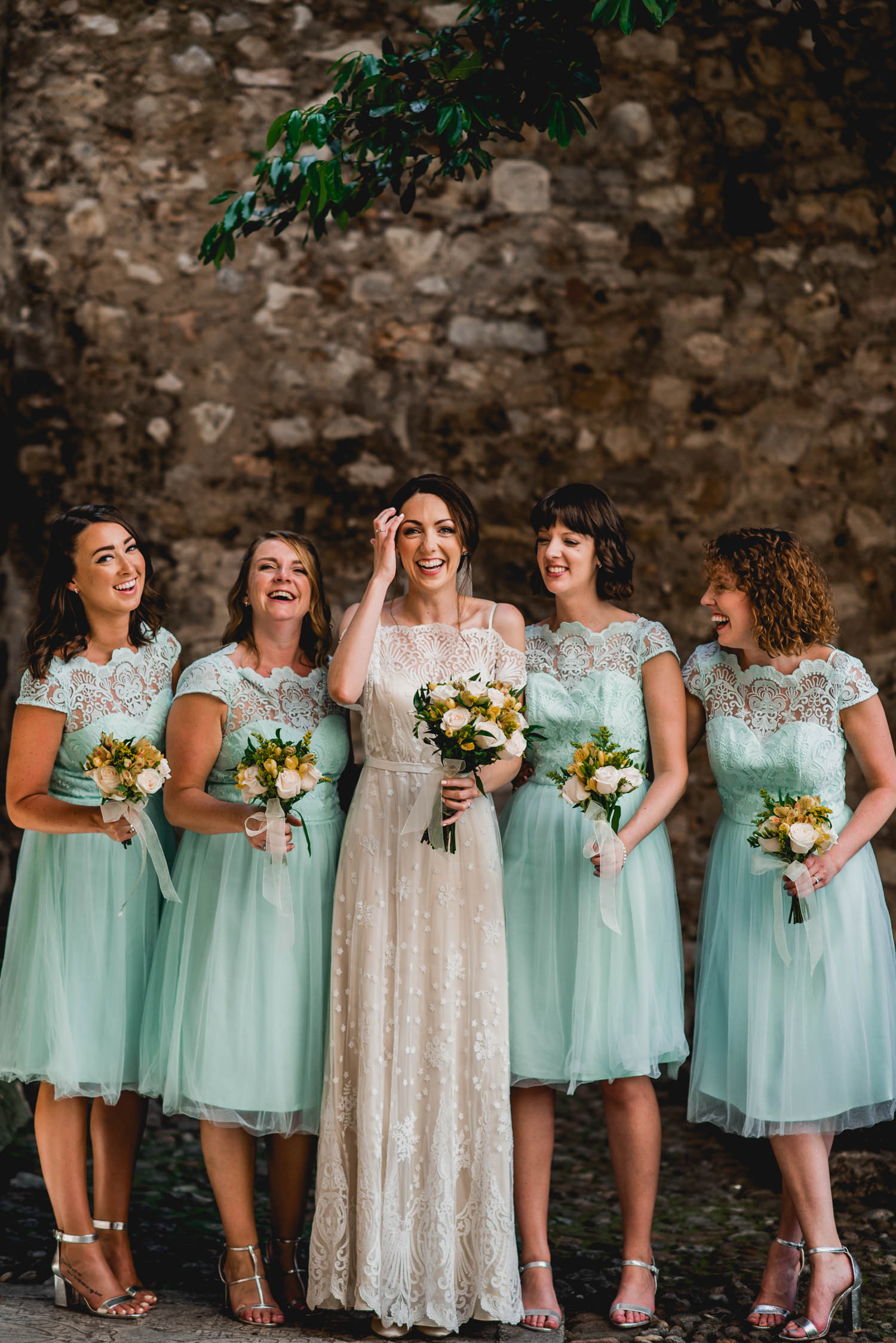 Malcesine castle bridesmaids