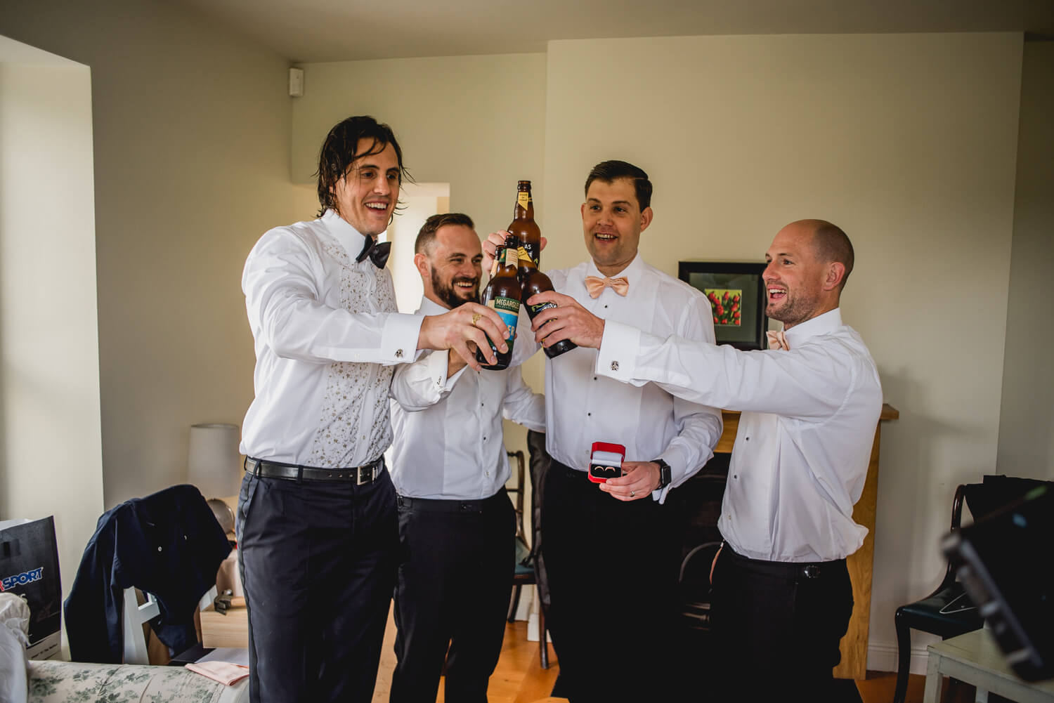 groom getting ready with beers
